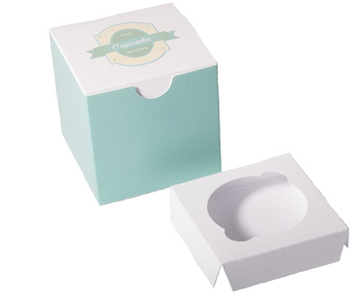 White Standard Cupcake Box with Insert - 3 1/2 x 3 1/2 x 3 1/2